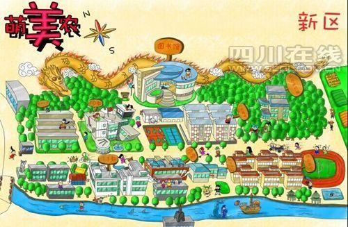 """学长手绘萌版校园地图 卡通人物带你""""逛""""川农"""